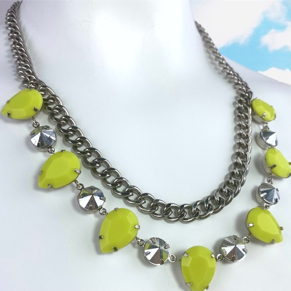 H&M Neon Yellow Silver Chain Necklace